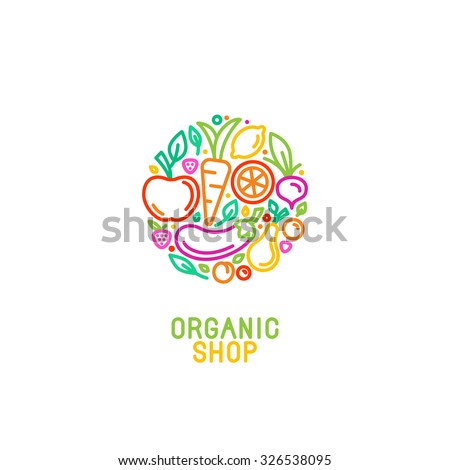 Vector logo design template with fruit and vegetable icons in trendy linear style - abstract emblem for organic shop, healthy food store or vegetarian cafe Royalty-Free Stock Photo #326538095