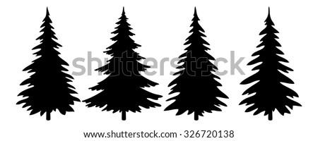 Christmas Trees Set, Black Pictogram Isolated on White Background, Winter Holiday Symbols. Vector