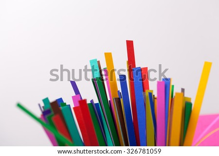 colourful papers background. Rainbow colored paper close up #326781059