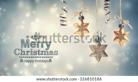 Merry Christmas message with hanging star ornaments #326810186