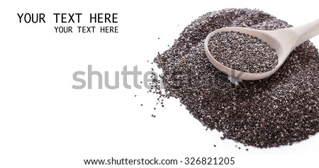 Dry chia seeds in spoon on white background #326821205