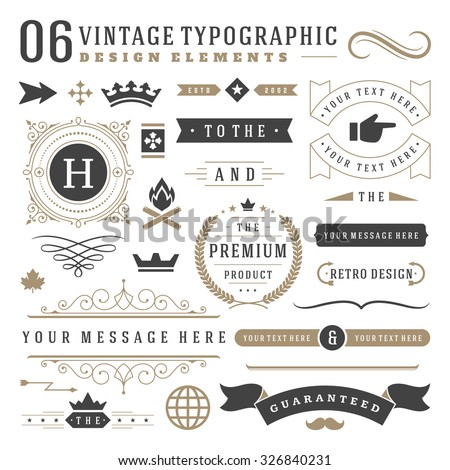 Retro vintage typographic design elements. Arrows, labels, ribbons, logos symbols, crowns, calligraphy swirls, ornaments and other. Royalty-Free Stock Photo #326840231