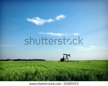 Cereal field and pump-jack