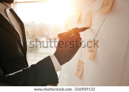 Cropped shot of businessman putting his ideas on white board during a presentation in conference room. Focus in hands with marker pen writing in flipchart. Royalty-Free Stock Photo #326909132