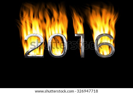 2016 icon in fire or heat. Logo for the year 2016. #326947718