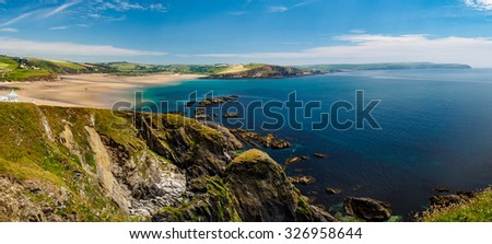 Panoramic view from Burgh Island on the South Devon Coast, Devon, United Kingdom Royalty-Free Stock Photo #326958644