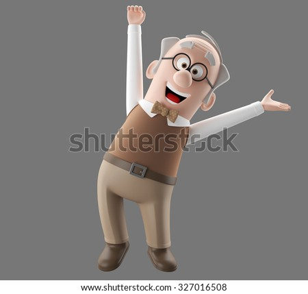 3d cartoon illustration of old man, happy smiling cute senior, isolated character