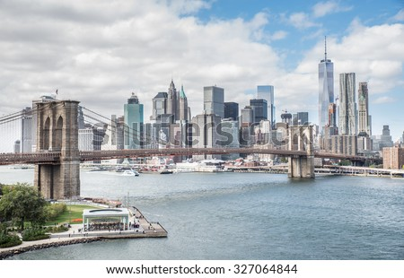 View of Brooklyn Bridge and Manhattan skyline - New York City downtown, photographed from Manhattan Bridge