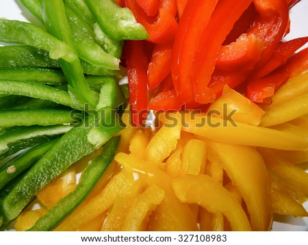 Slices of Colorful Peppers #327108983