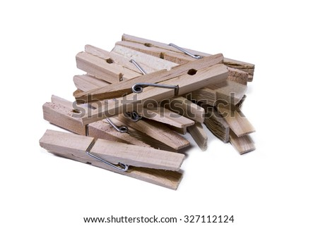 clothespins isolated wooden #327112124