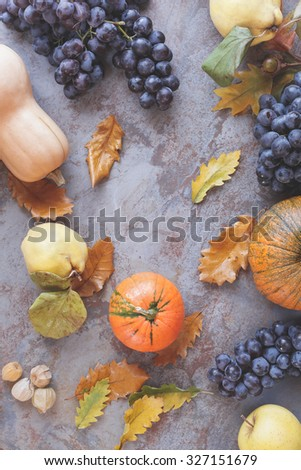Autumnal fruits. Autumn still life with various autumn fruits and  leaves.  Top view, vintage  toned  #327151679