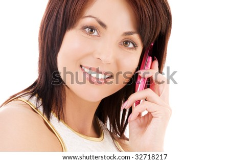 picture of happy woman with cell phone #32718217