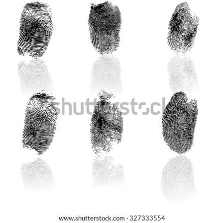 Set of fingerprints, vector illustration isolated on white #327333554