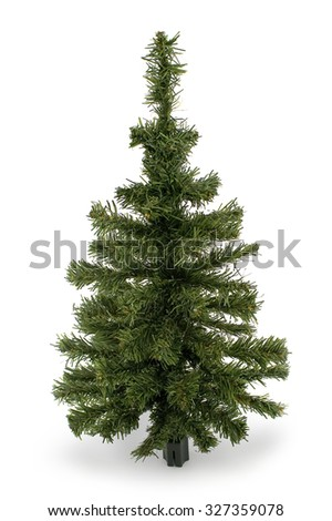 Plastic Christmas tree isolated on white #327359078