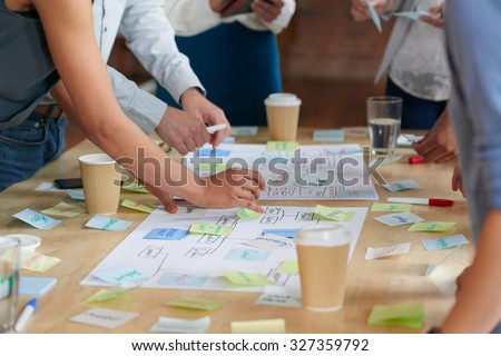 Brainstorming session with post it notes on desk Royalty-Free Stock Photo #327359792