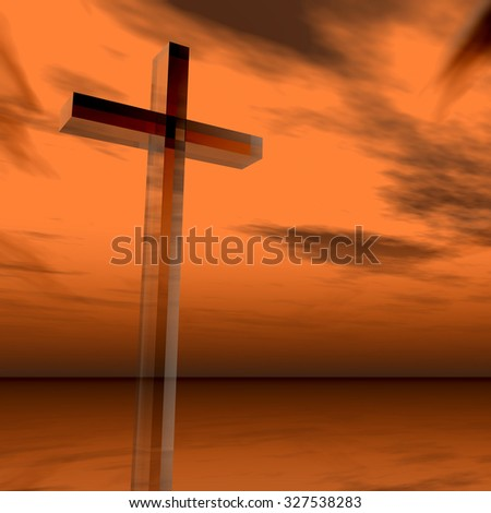 Concept glass cross or religion symbol silhouette on water landscape over a sunset or sunrise sky with sunlight clouds background for God, Christ, Christianity, religious, faith, Jesus belief #327538283