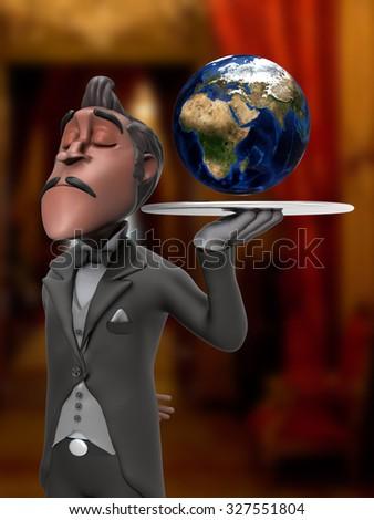 First Class Service Worldwide Butler Illustration  #327551804