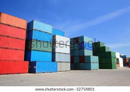 shipping containers - many cargo freight containers stacked in harbor #32758801