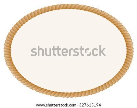 Oval shaped rope frame / border isolated on white background