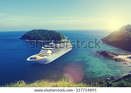 Cruise Ship in the Ocean with Blue Sky Concept #327754895