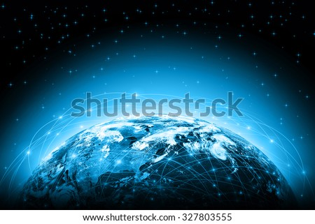World map on a technological background, glowing lines symbols of the Internet, radio, television, mobile and satellite communications. Elements of this image furnished by NASA #327803555
