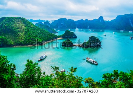 Scenic view of islands in Halong Bay, Vietnam, Southeast Asia Royalty-Free Stock Photo #327874280
