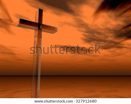 Concept glass cross or religion symbol silhouette on water landscape over a sunset or sunrise sky with sunlight clouds background  for God, Christ, Christianity, religious, faith, Jesus or belief #327912680