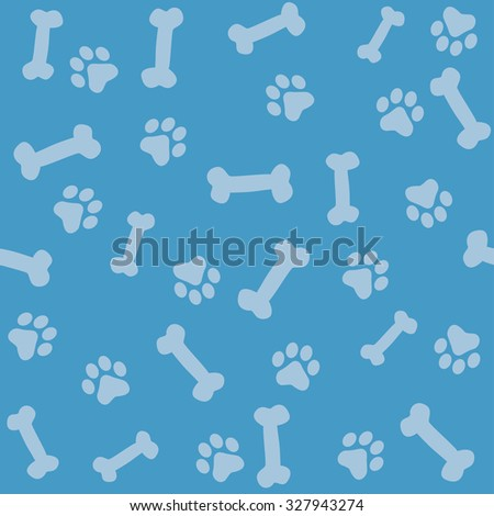 Animal paw prints seamless background with paw prints and bones