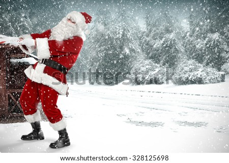 cold winter day of snow and red santa claus on street  #328125698