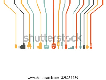 Plug Wire Cable Computer colorful vector illustration #328331480