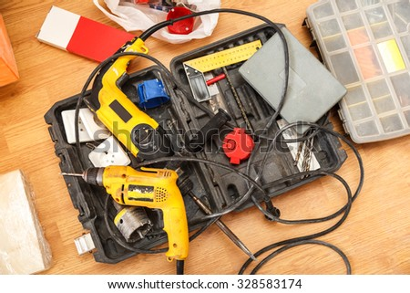 Tool box of carpenter on the floor #328583174