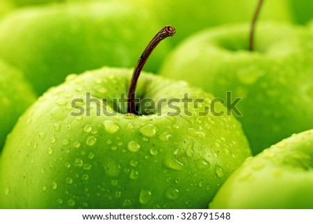 Ripe green apples close up #328791548