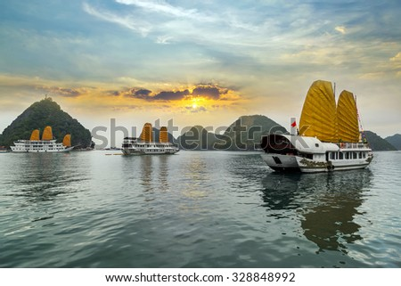 Ha Long Bay, Vietnam. Unesco World Most popular place. Royalty-Free Stock Photo #328848992