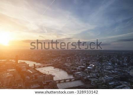 London city aerial view over skyline with dramatic sky #328933142