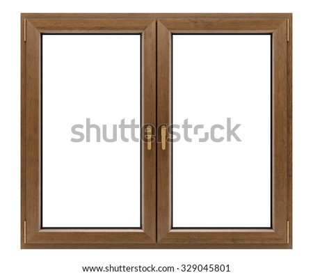 brown wooden window isolated on white background #329045801