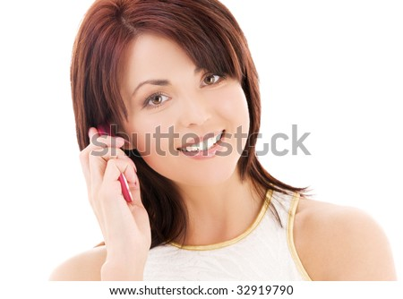 picture of happy woman with cell phone #32919790