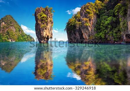 Phuket Thailand nature. Asia travel photography of James Bond island in Phang Nga bay. Thai scenic exotic landscape of tourist destination famous place
