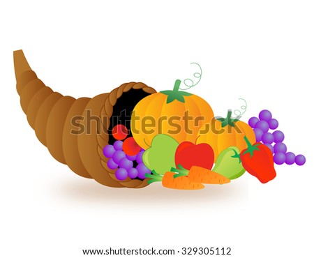 Illustration of basket of vegetables and fruits. thanksgiving basket