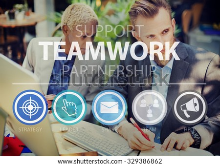 Teamwork Support Partnership Collaboration Unity Concept #329386862