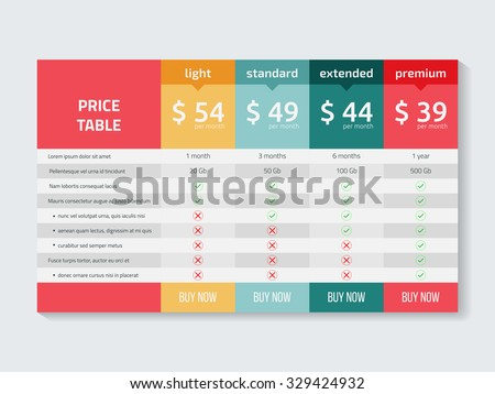 Web pricing table design for business .Vector illustration. Royalty-Free Stock Photo #329424932