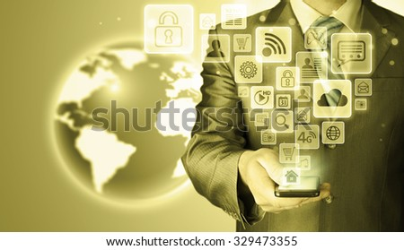 Business man using smart phone with social media icon set #329473355