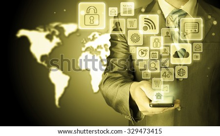 Business man using smart phone with social media icon set #329473415
