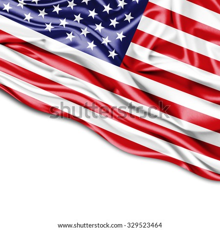 America  flag of silk with copyspace for your text or images and white background #329523464