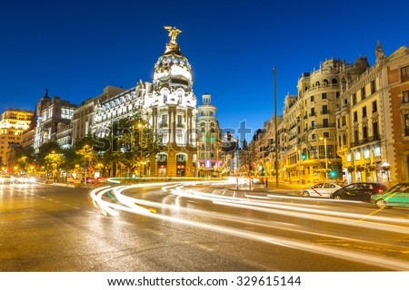 Gran Via, main shopping street in Madrid, Spain at dusk #329615144