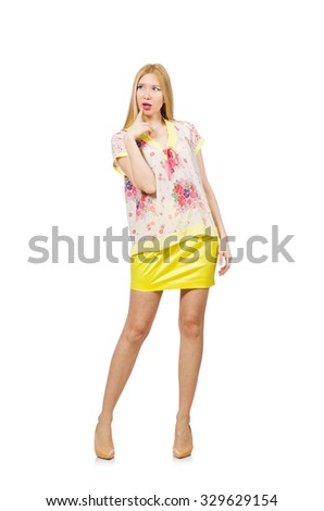Woman in yellow clothing isolated on white #329629154