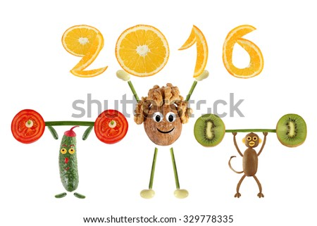 Group of funny vegetables raises the bar and 2016