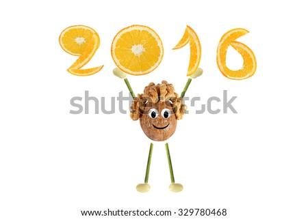 Healthy eating. Funny little  walnut raises 2016.