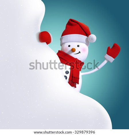 snowman holding blank snow banner, white cloud, 3d character illustration, festive clip art background
