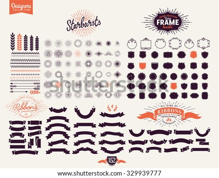 152 Premium design elements. Great for retro vintage logos. Starbursts, frames and ribbons Designers Collection Royalty-Free Stock Photo #329939777