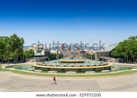 View of the Venetian Tower on Espanya square, Tibidabo on background. Barcelona. Spain. #329955200
